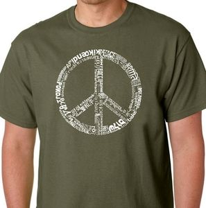 LA Pop NWT peace graphic t-shirt military green
